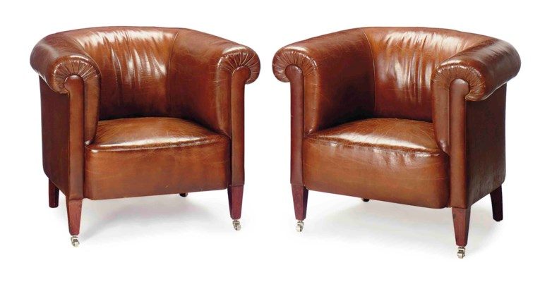 A PAIR OF BROWN LEATHER-UPHOLS