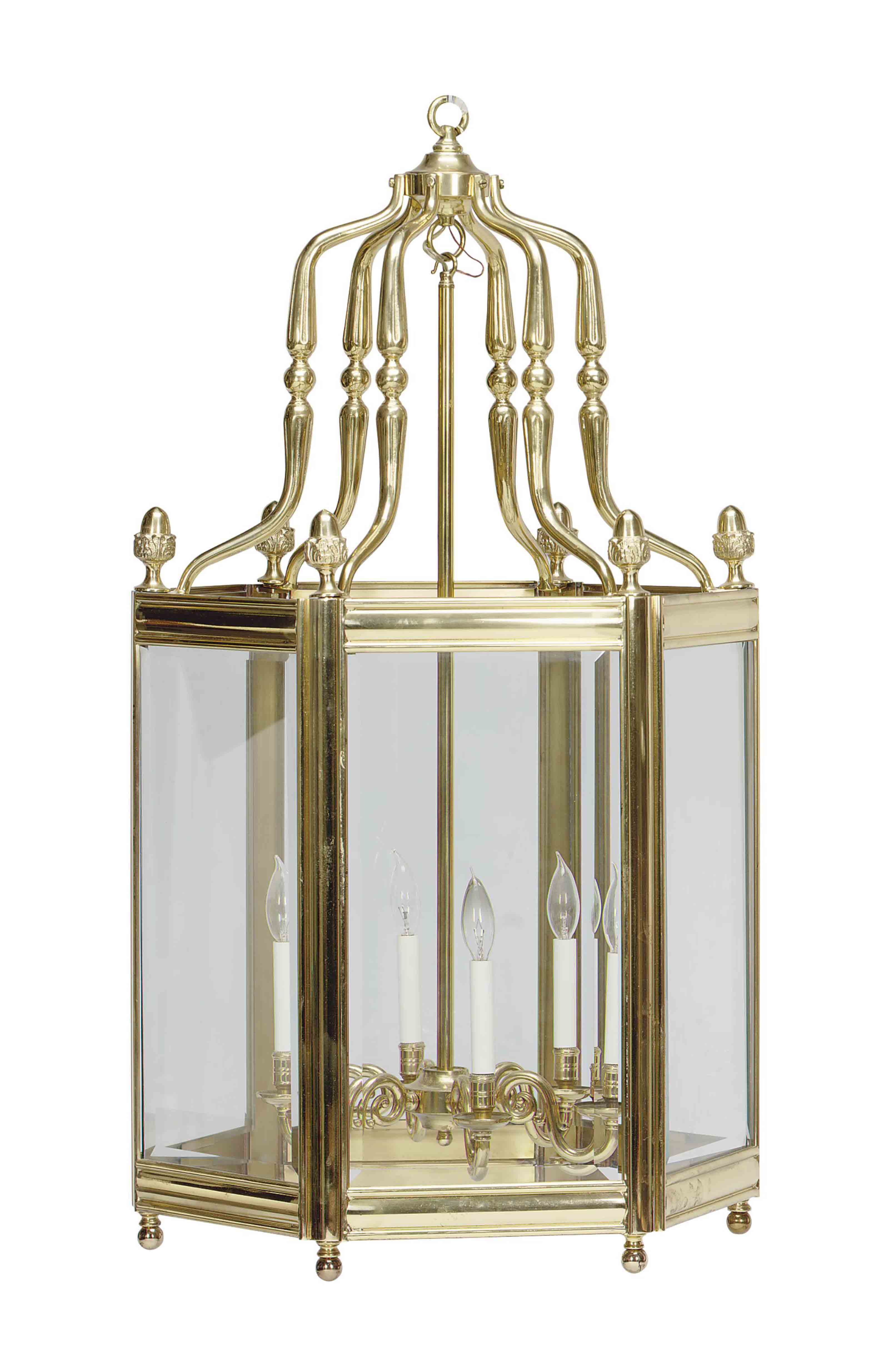 A LARGE BRASS AND GLASS HEXAGO
