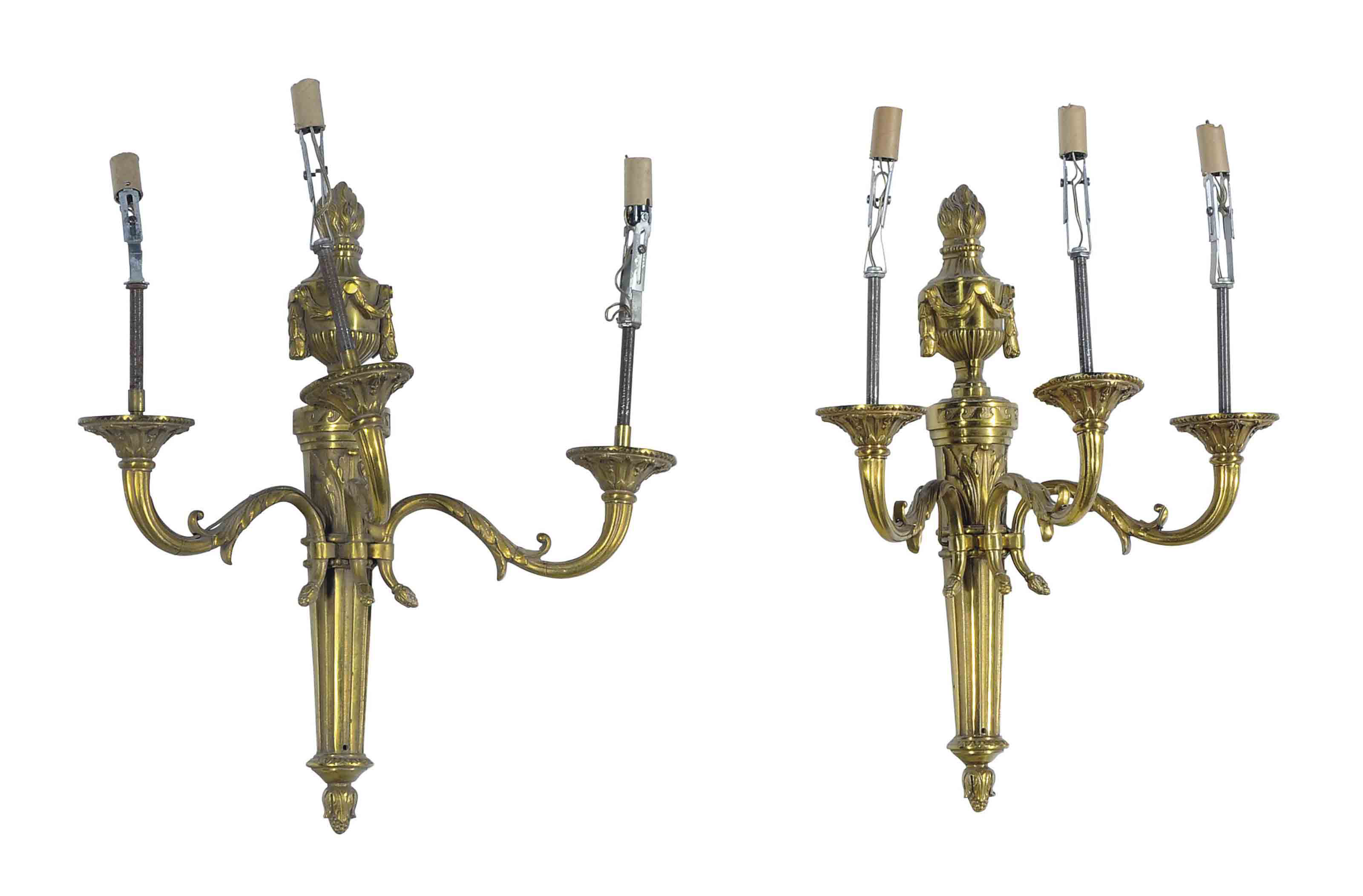 A SET OF FOUR GILT-BRONZE THRE