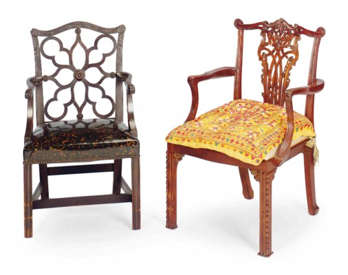 TWO MAHOGANY OPEN ARMCHAIRS,