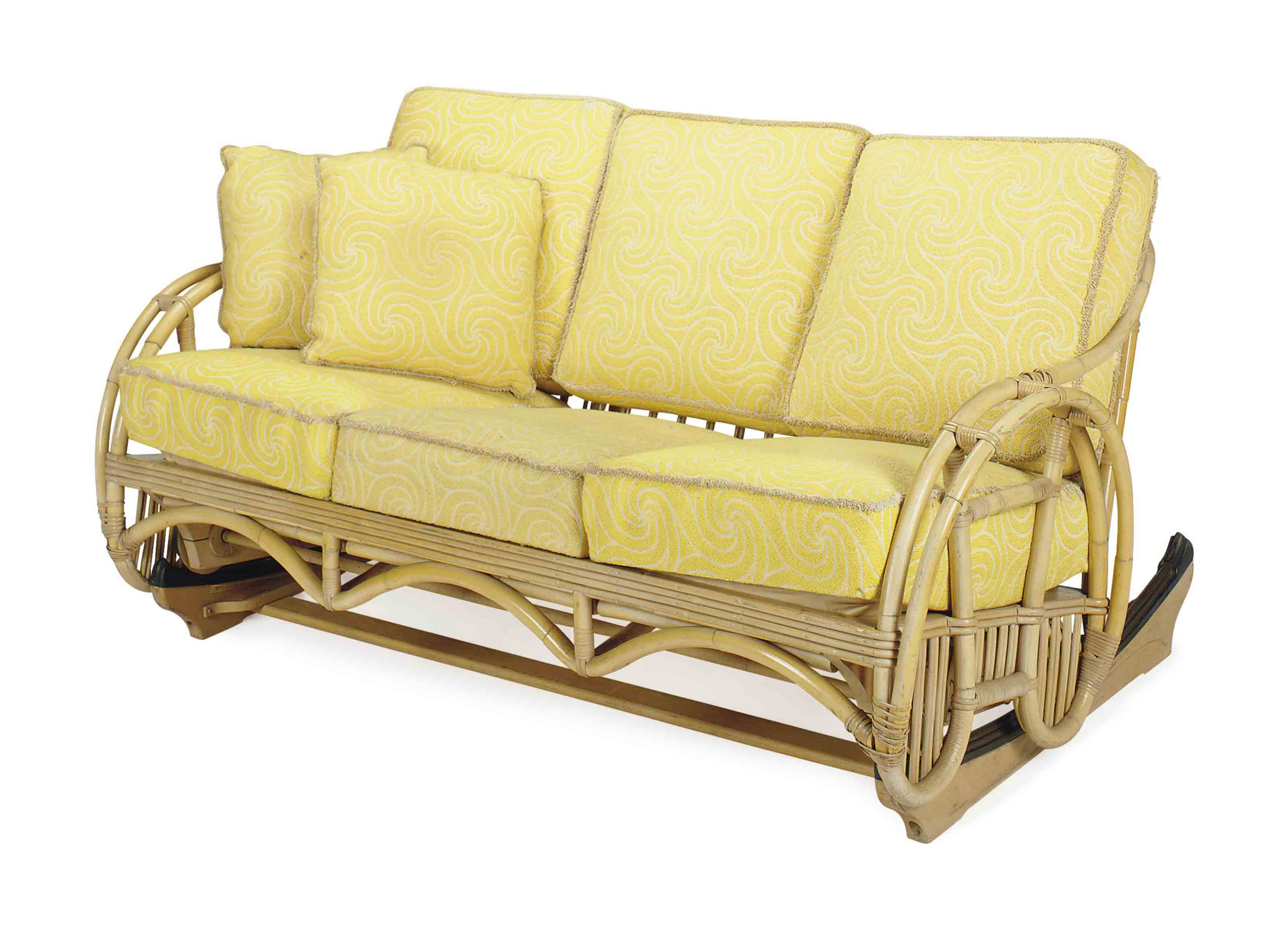 A BAMBOO THREE-SEAT ROCKING SO