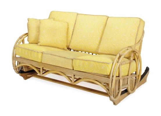 A BAMBOO THREE-SEAT ROCKING SO