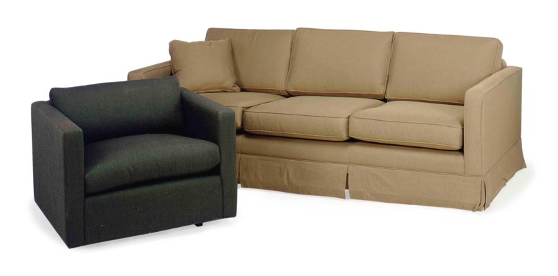 A BROWN PLUSHED-UPHOLSTERED TH
