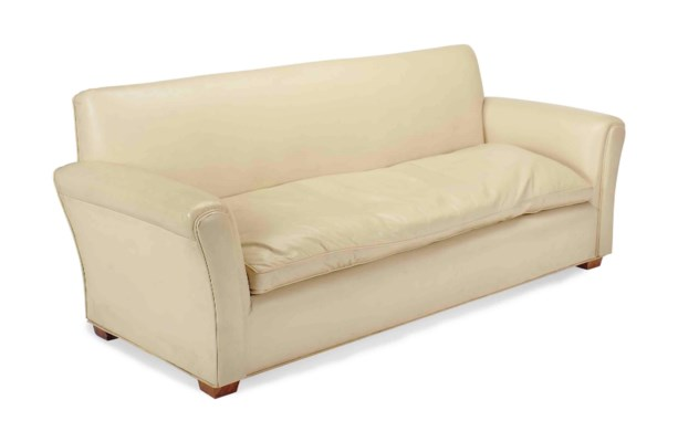 A CREAM LEATHER-UPHOLSTERED SO