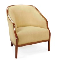 AN AMERICAN WALNUT AND TAUPE-UPHOLSTERED TUB CHAIR,