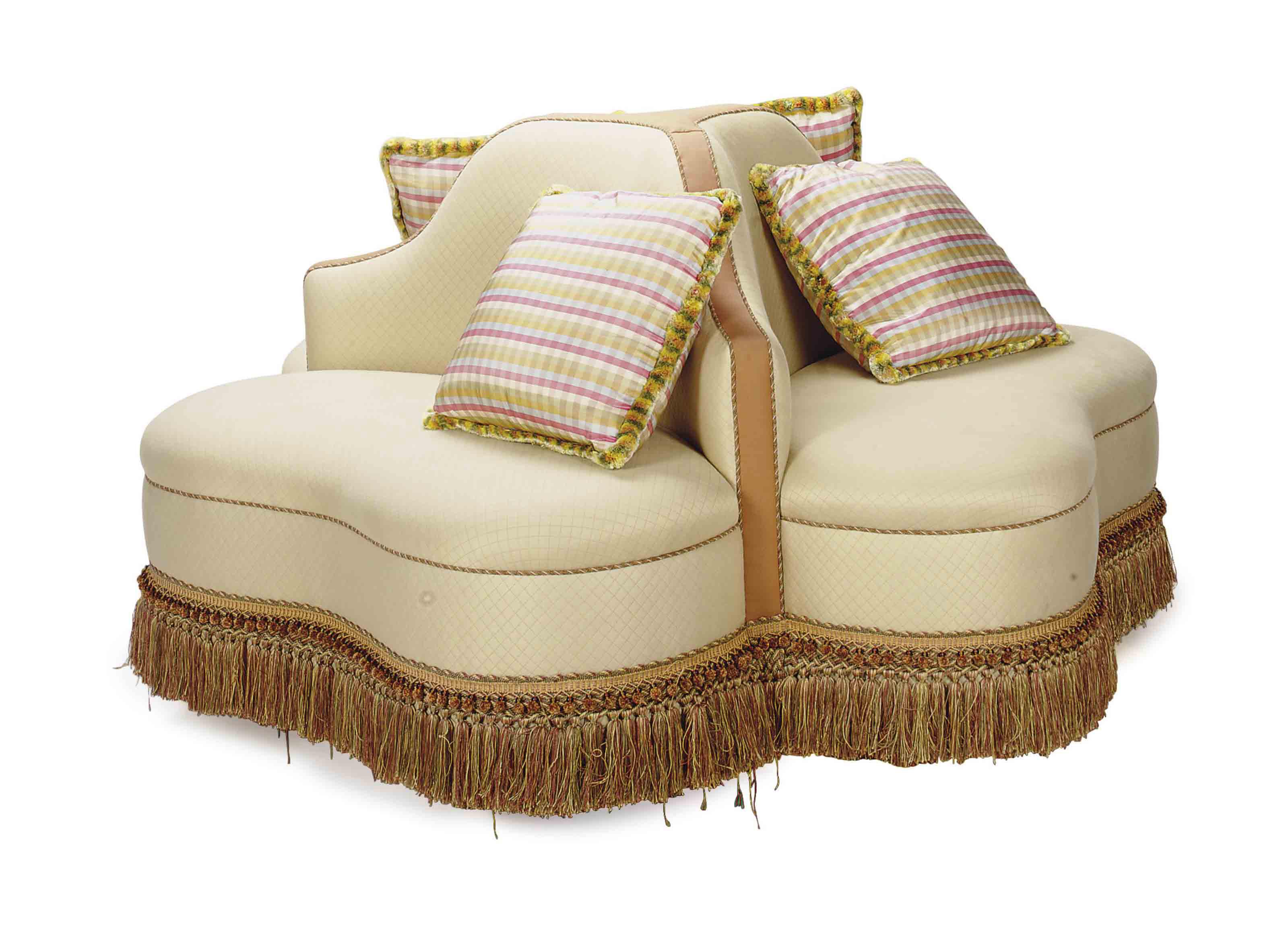 A cream cotton upholstered circular confidante sofa