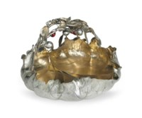 A LARGE PARCEL-GILT SILVER AND MIXED-METAL BERRY BOWL