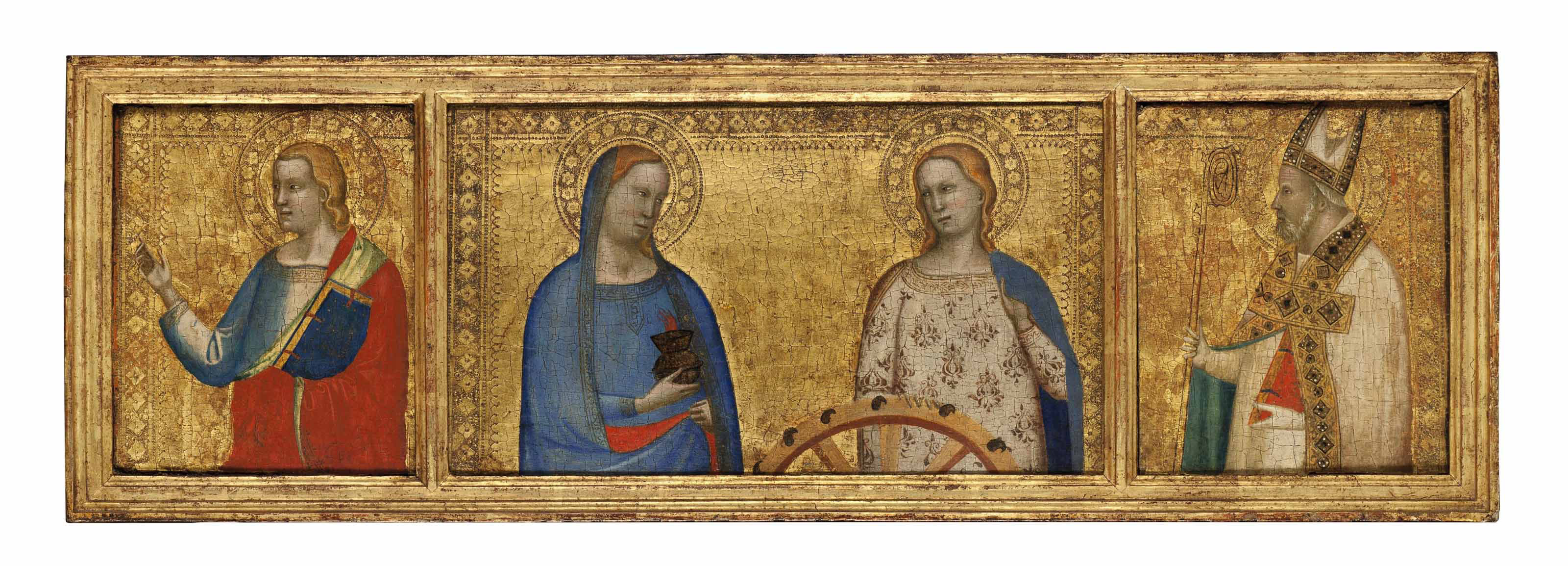 Saints Lucy and Catherine of Alexandria; Saint John the Evangelist; and Saint Nicholas of Bari (?): Predella panels from the S. Giorgio a Ruballa altarpiece