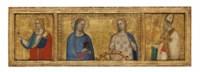 Saints Lucy and Catherine of Alexandria; Saint John the Evangelist; and Saint Nicholas of Bari (?): Predella panels from the S. Giorgio a Ruballa altarpiece