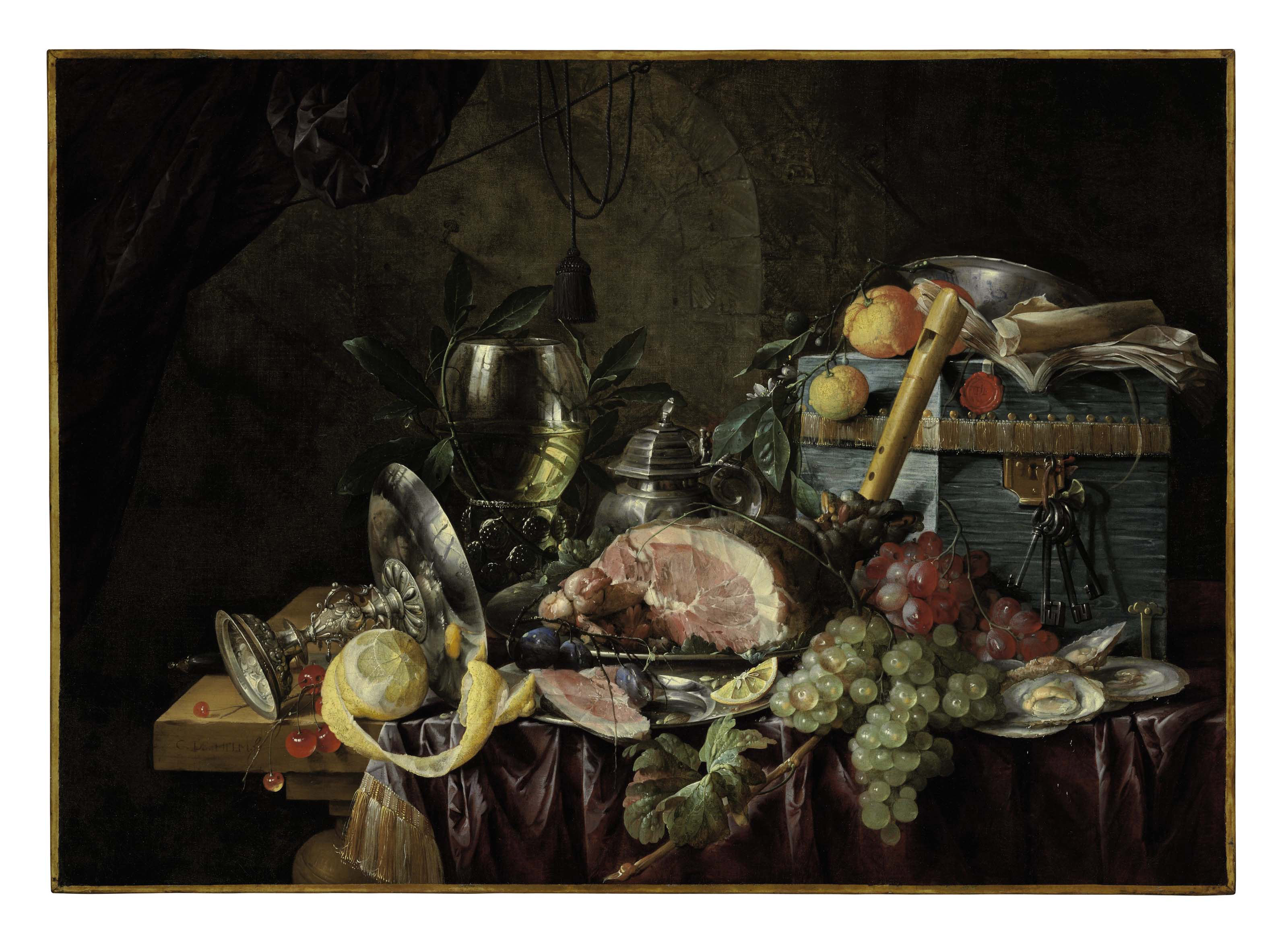 A ham on a pewter plate, grapes, berries, plums, lemons, and oysters with a roemer, tazza, pitcher, wan-li porcelain dish, recorder, book, and blue box on a partly draped table in a niche