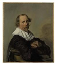 Portrait of a gentleman, half-length, in a black coat