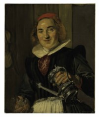Young woman holding a glass and a flagon