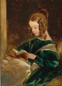 Study of Rachel (Lady Rachel Russell), half-length, in a green dress, reading a book