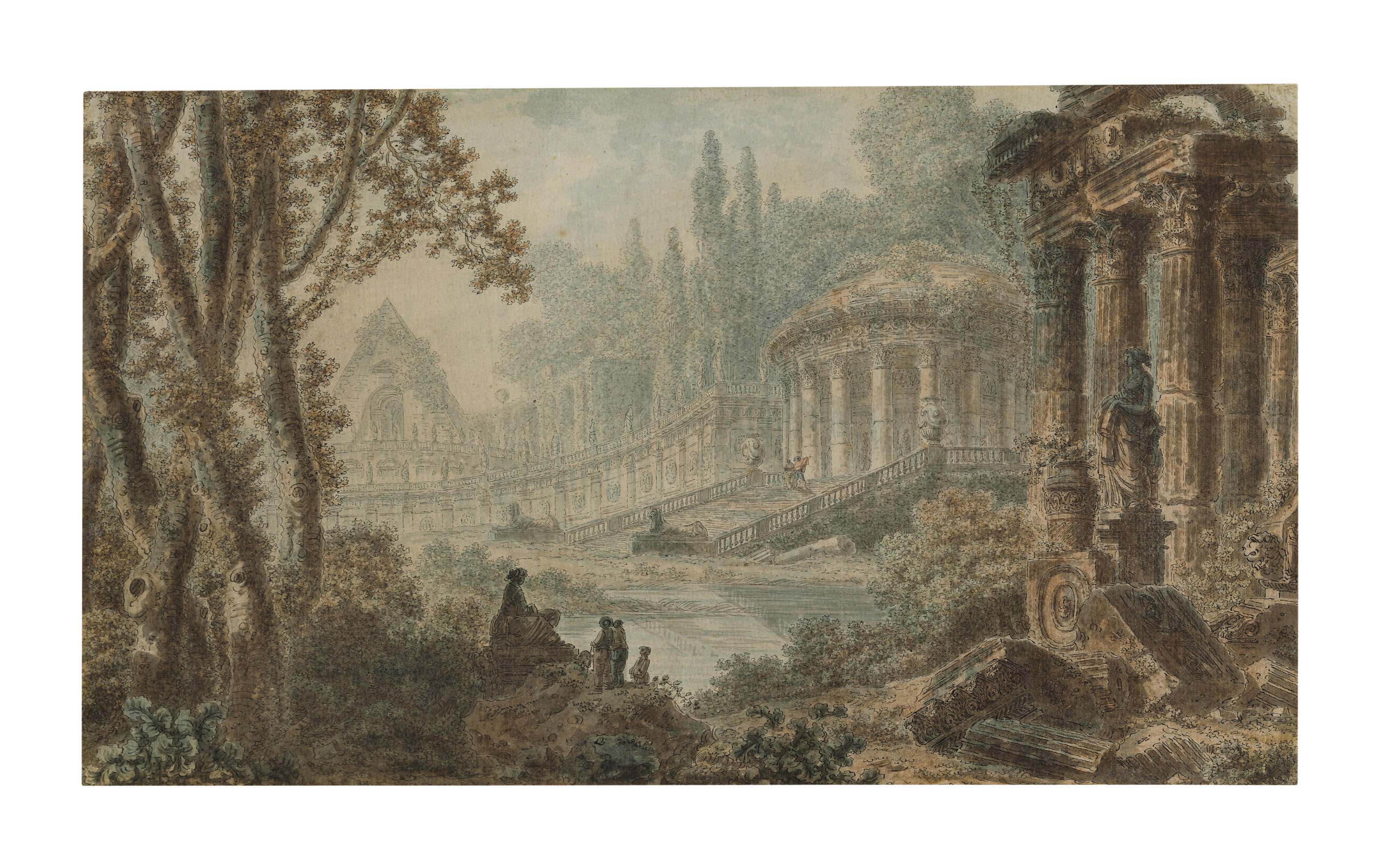 A landscape capriccio with classical architecture and figures around a pond