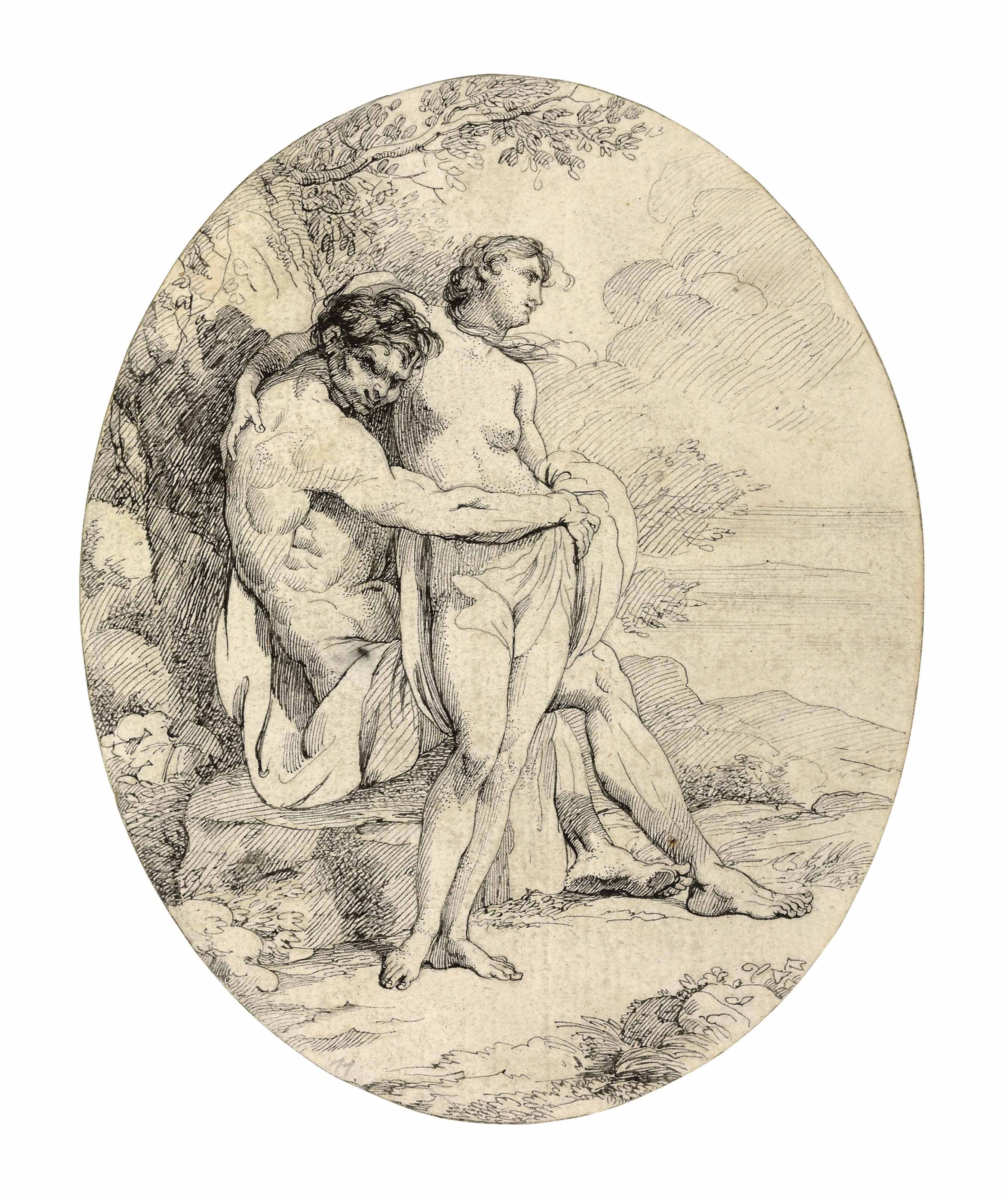 A satyr embracing a woman