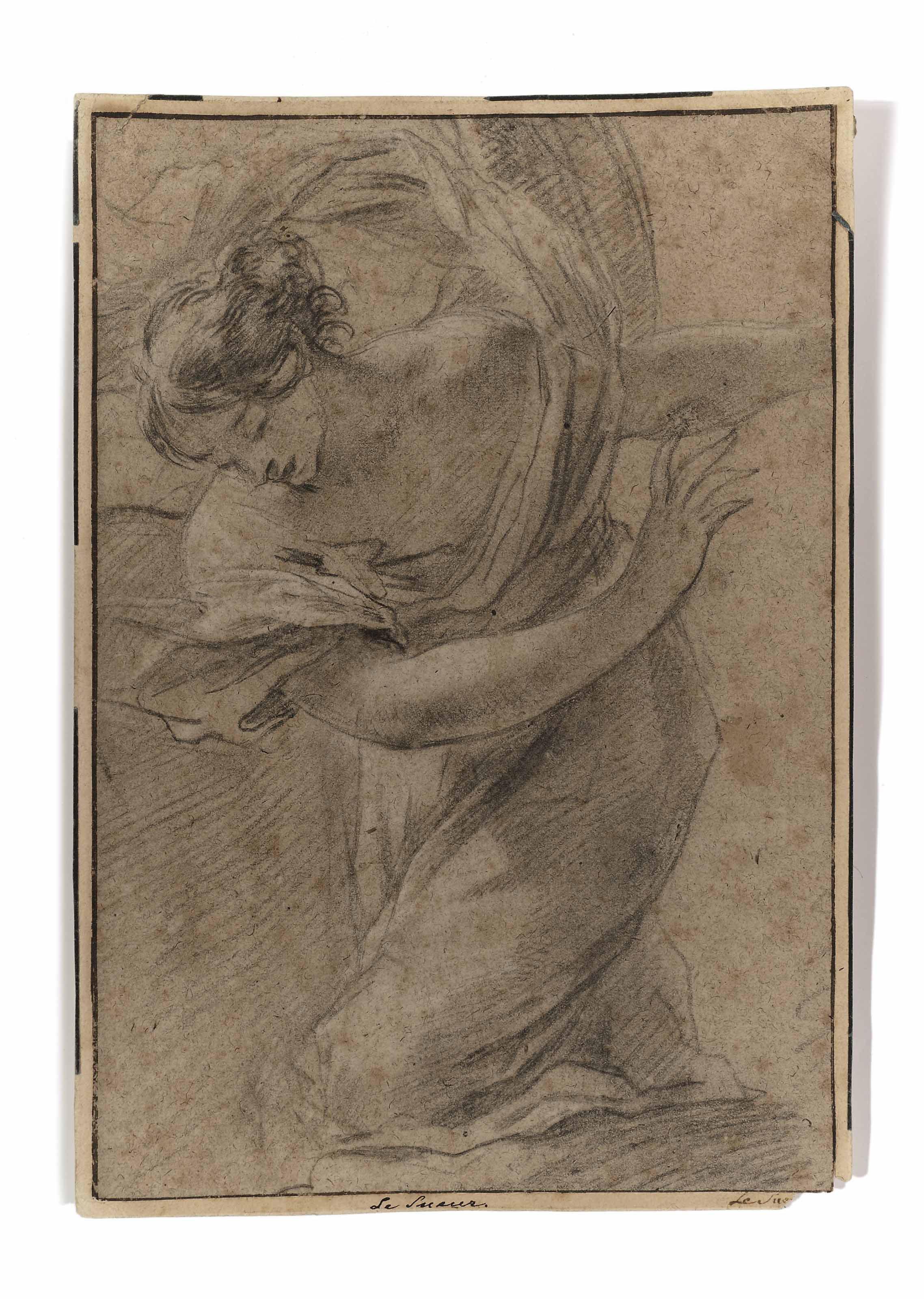A kneeling woman in a billowing mantle