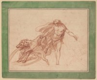 Design for a fountain: Actaeon with three hunting dogs