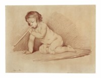 A kneeling putto blowing a pipe