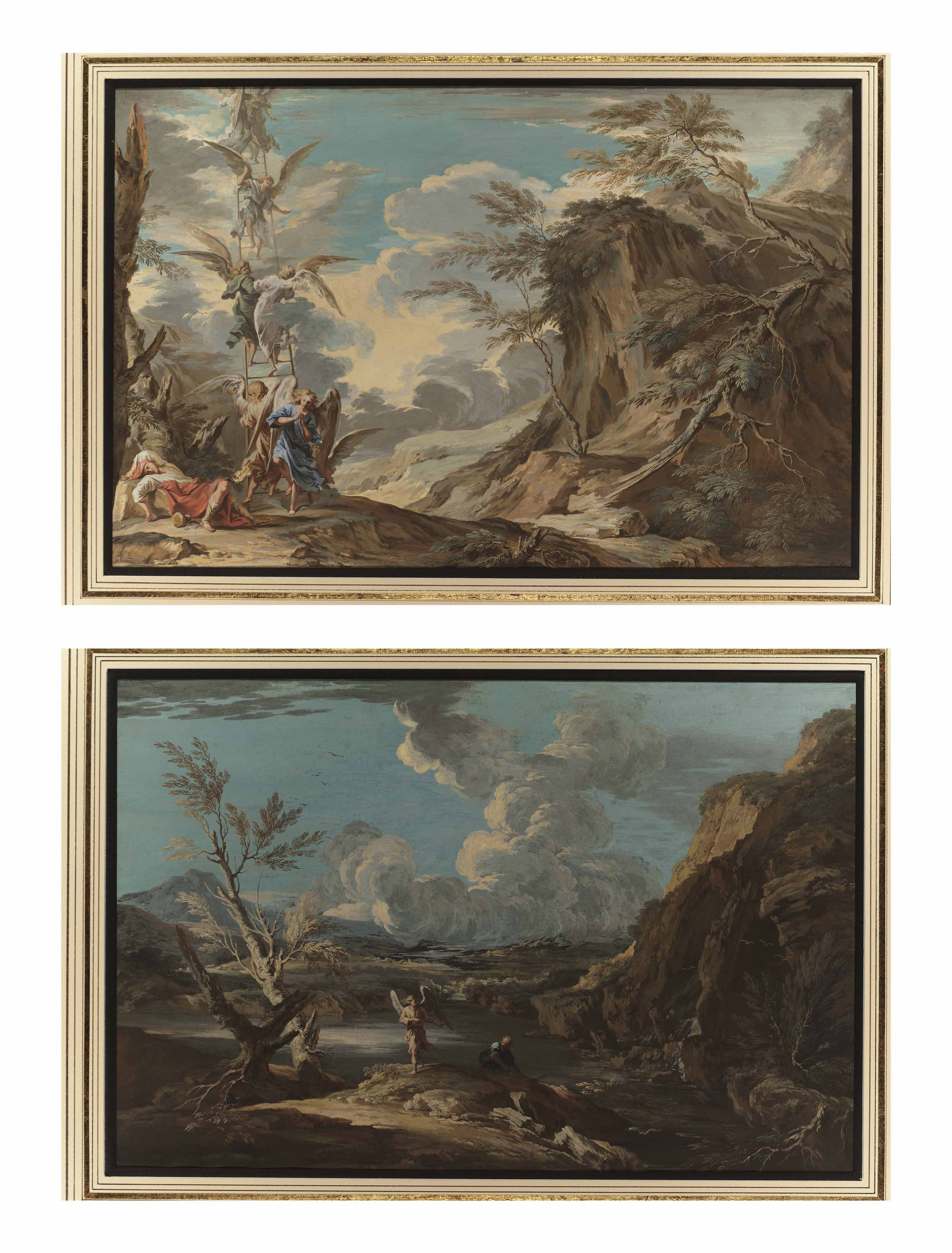 The Dream of Jacob; and Tobias and the Angel, both after Salvator Rosa