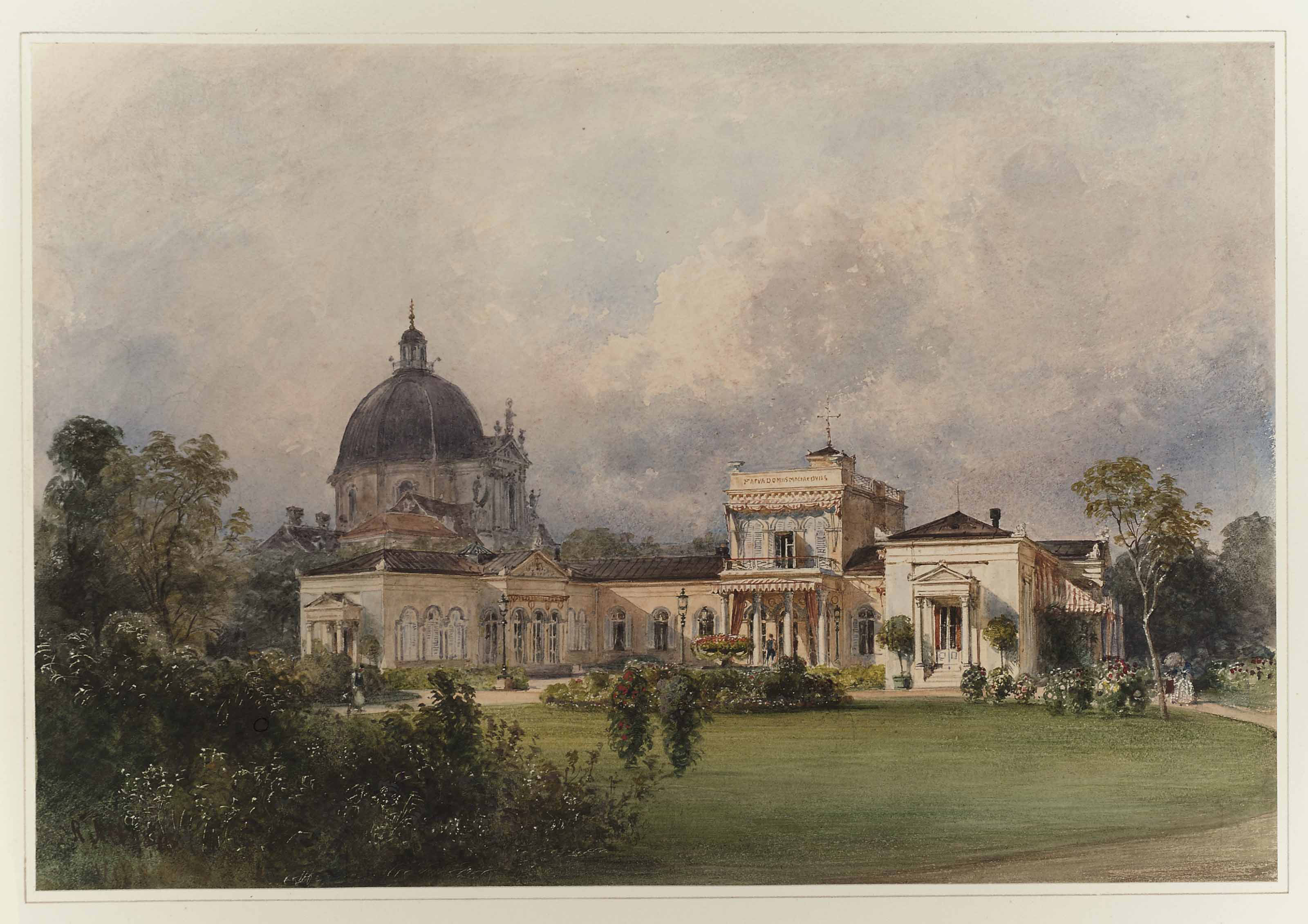 Villa Metternich, Vienna, from the South East, with the dome of the Salesianerinnenkirche beyond