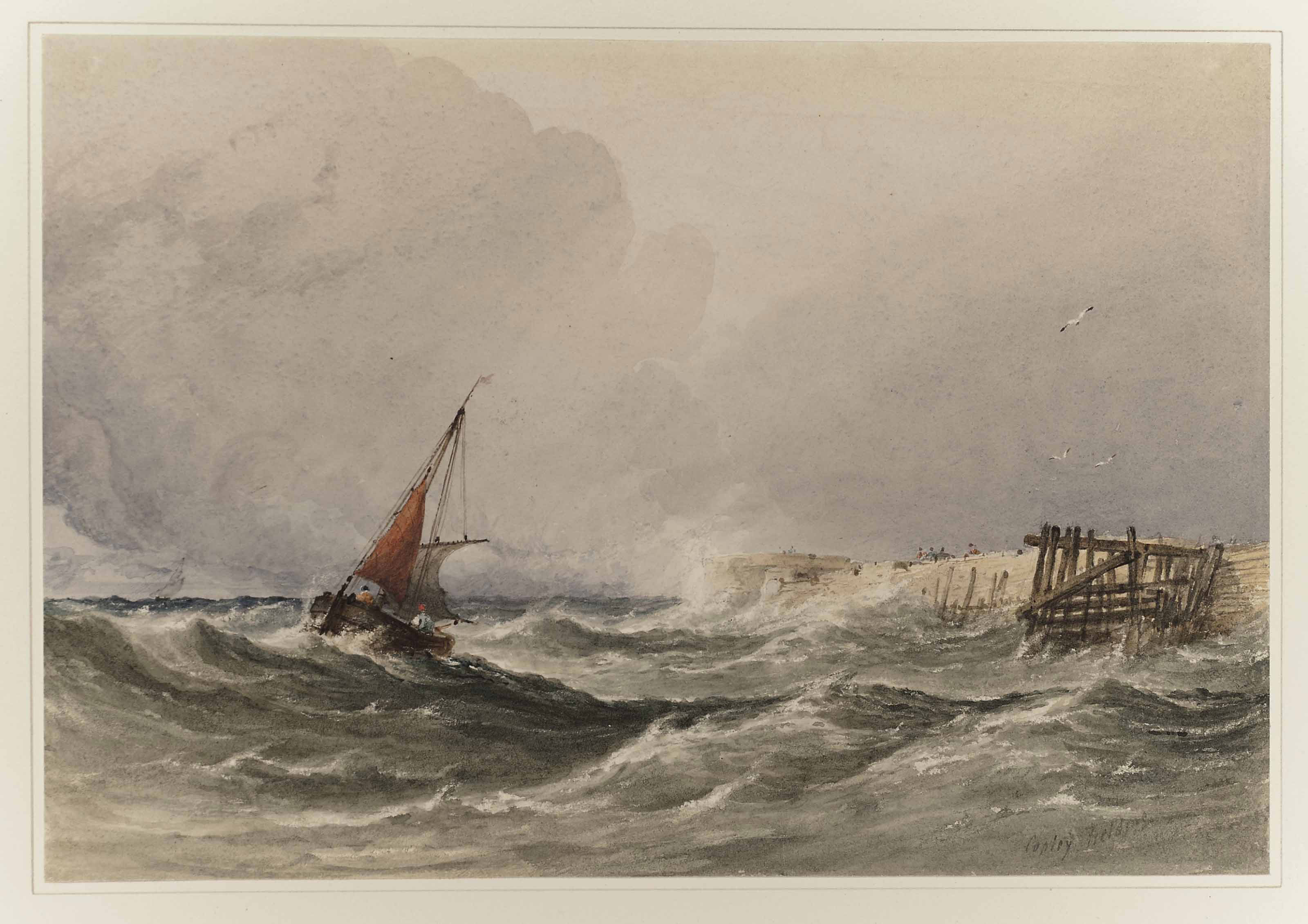 Shipping off the coast in rough seas