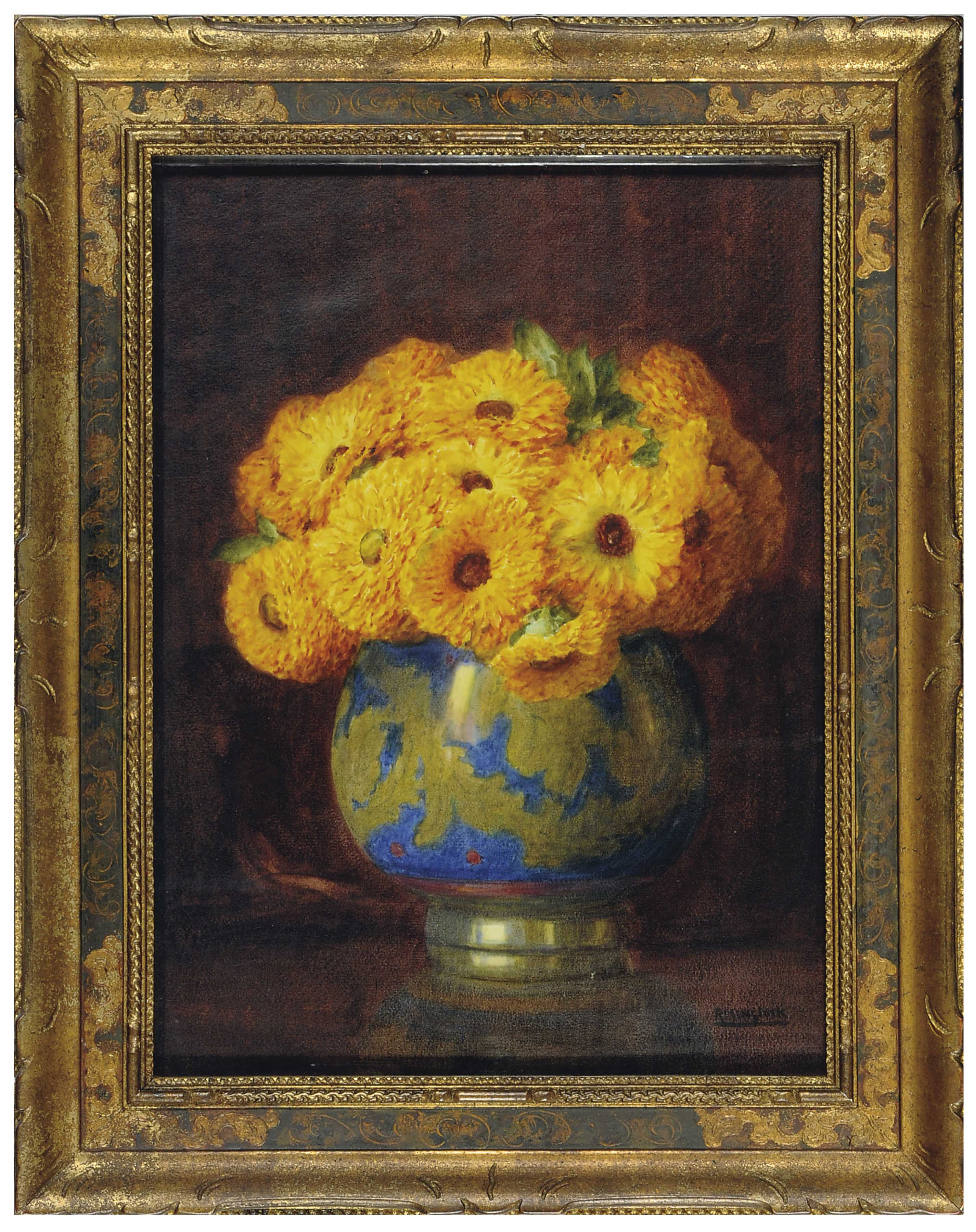 Still life of yellow flowers in a porcelain vase