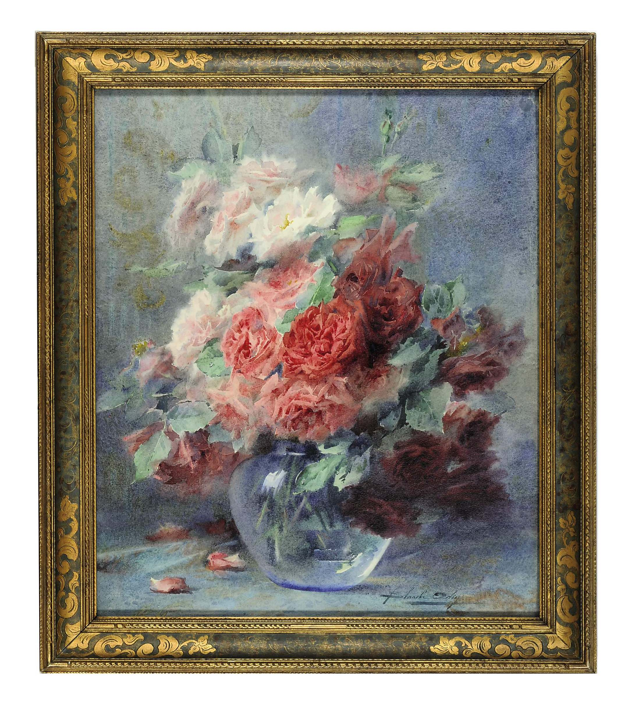 Still life of roses in a vase