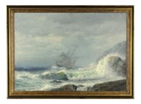 A ship off a rocky coast in a storm