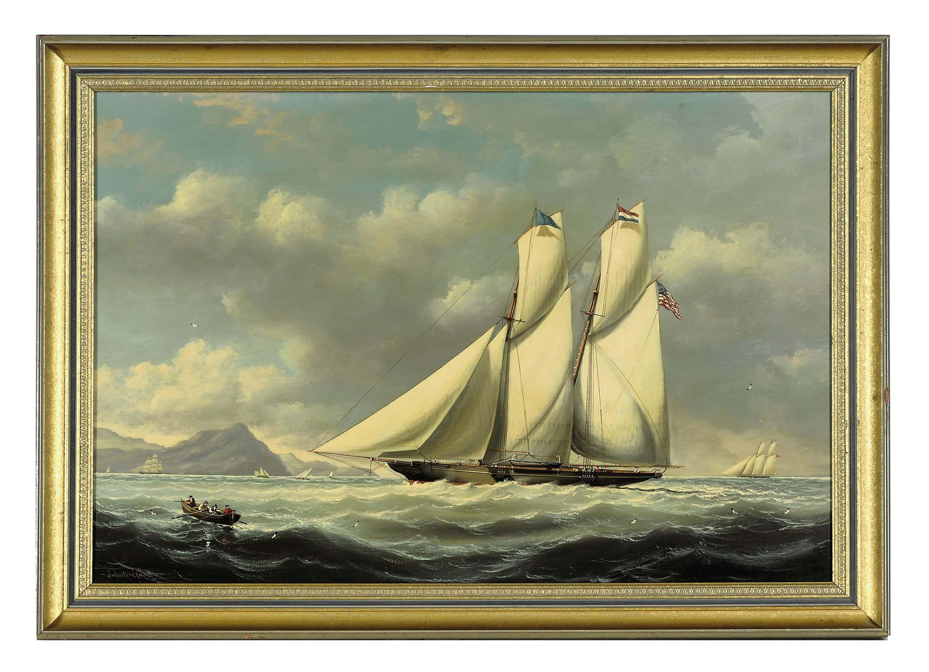 "The Schooner Yacht ""Lady Dora"" racing in the Bahamas"