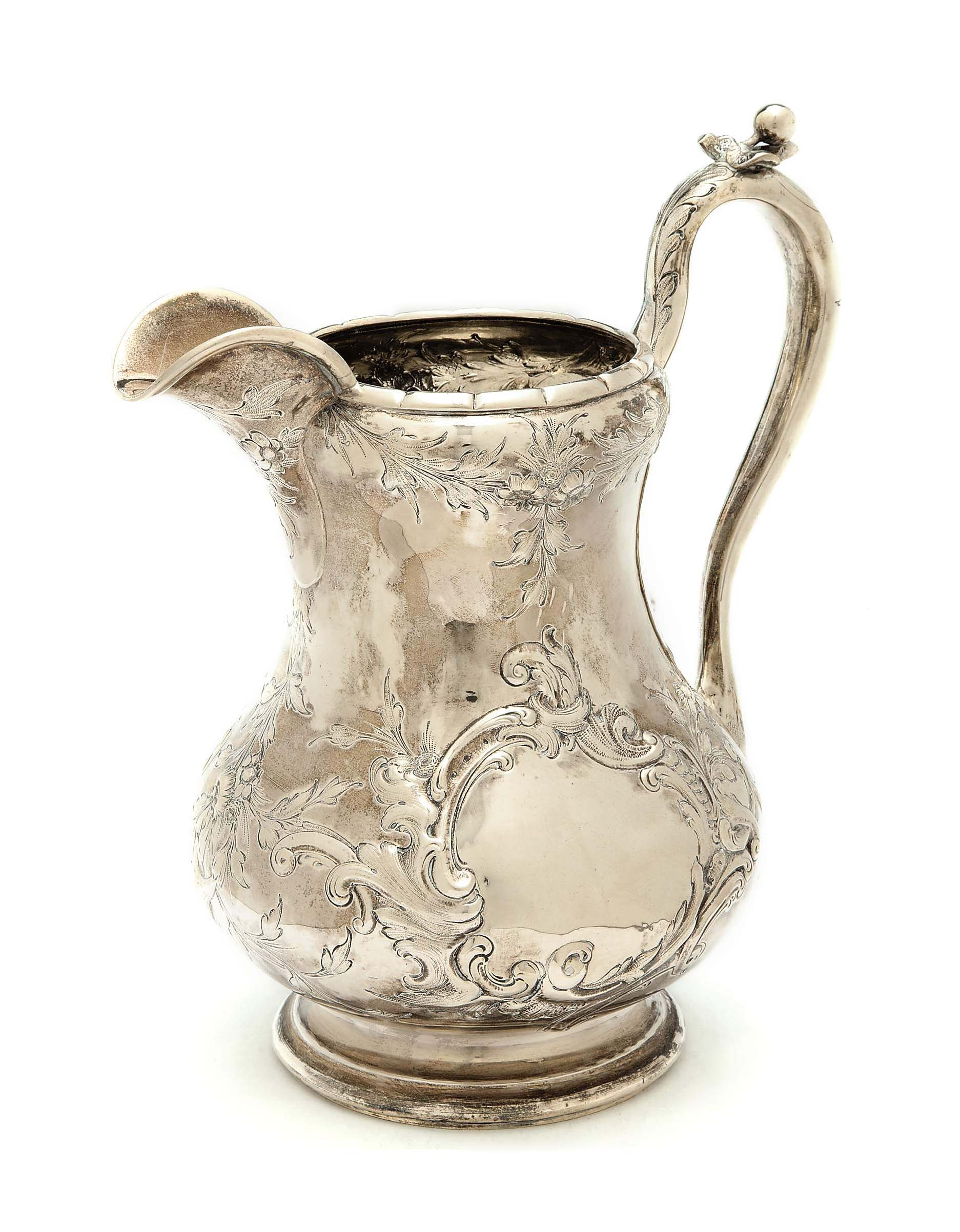 AN AMERICAN SILVER WATER PITCHER,