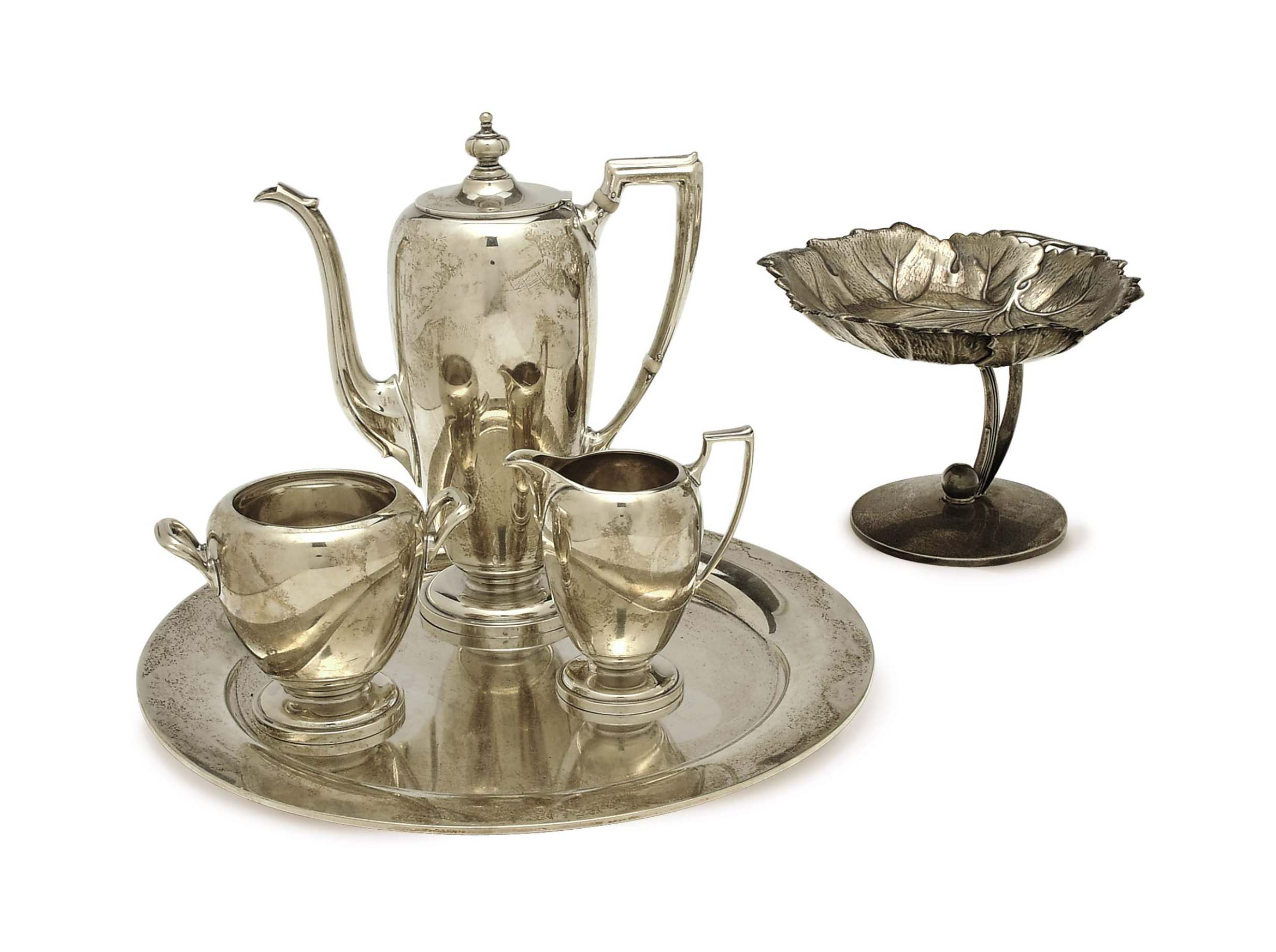AN AMERICAN SILVER COFFEE SERVICE, AND FOOTED LEAF-FORM DISH,