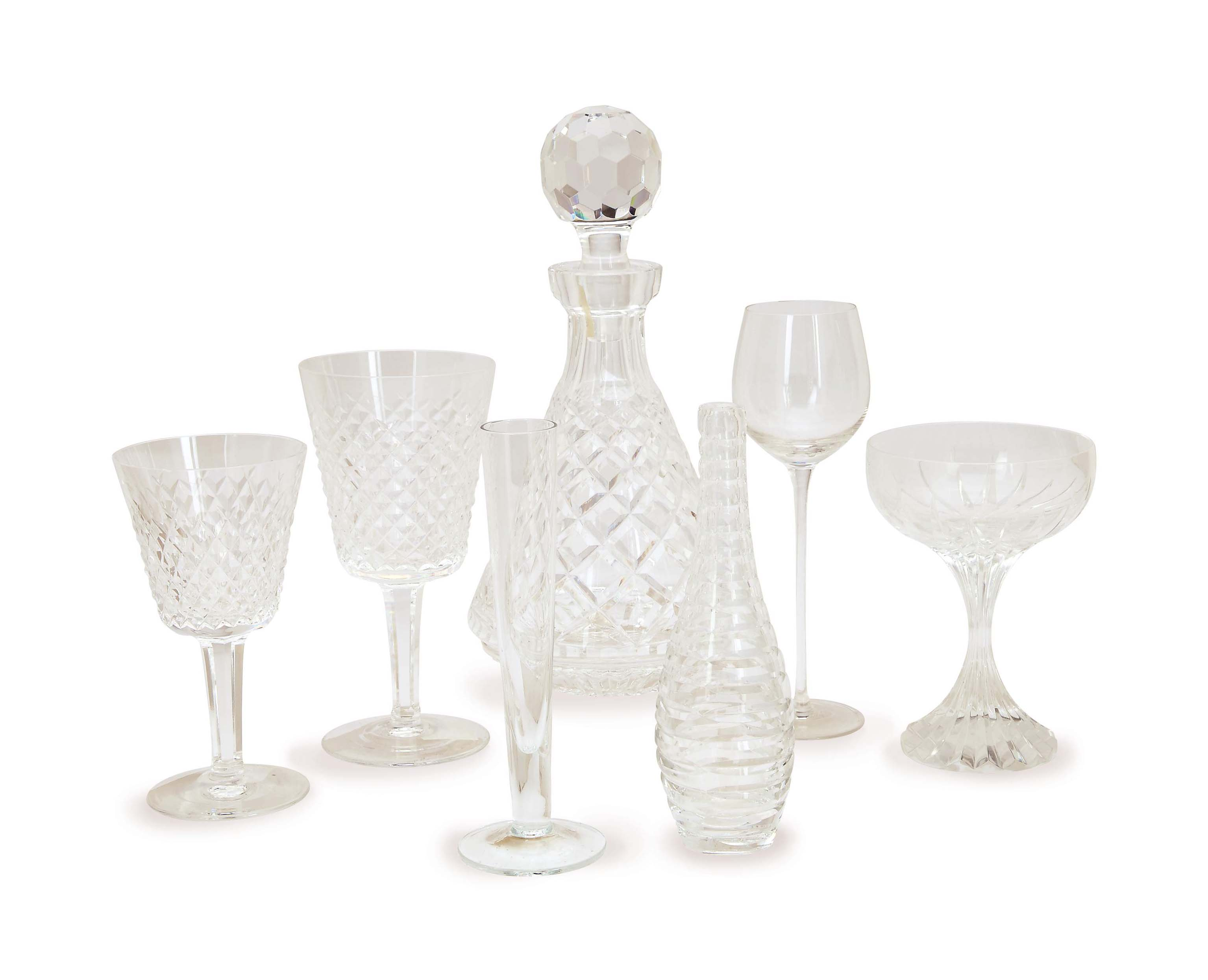 AN ASSEMBLED GROUP OF GLASS DRINKWARE,