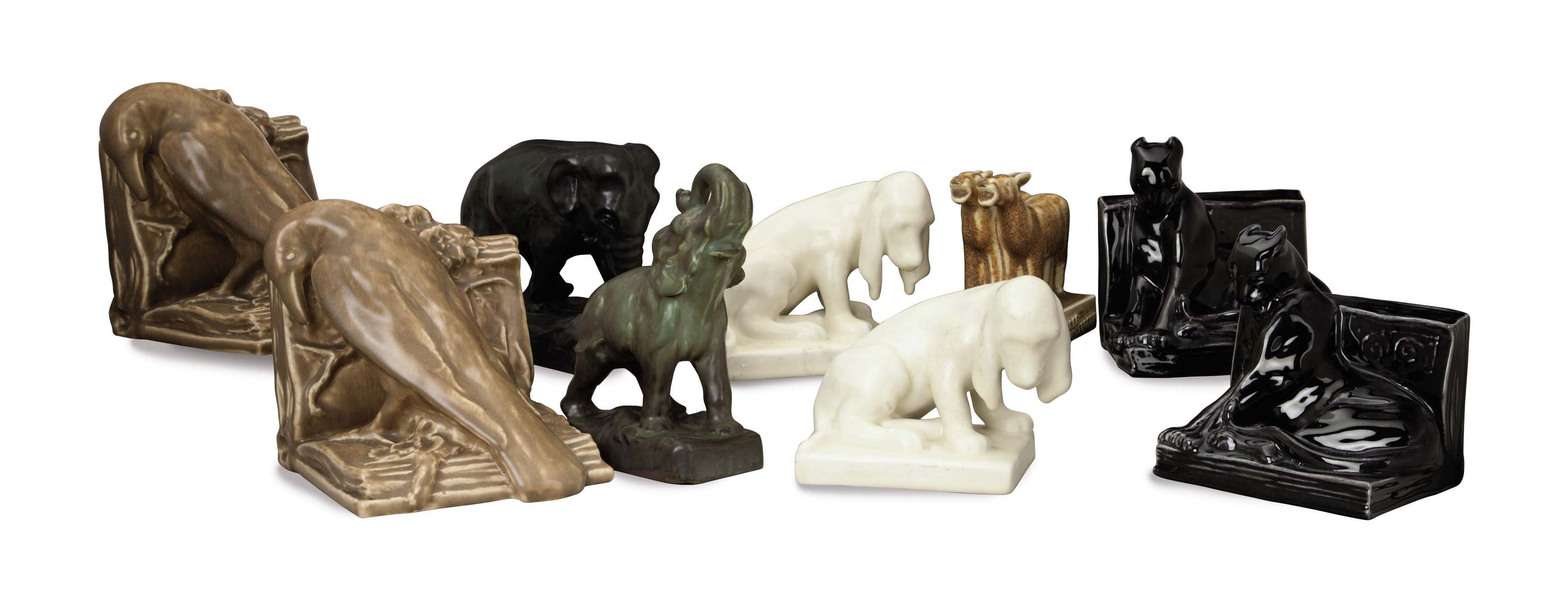 THREE PAIRS OF AMERICAN GLAZED POTTERY BOOK ENDS AND THREE MODELS OF ANIMALS,