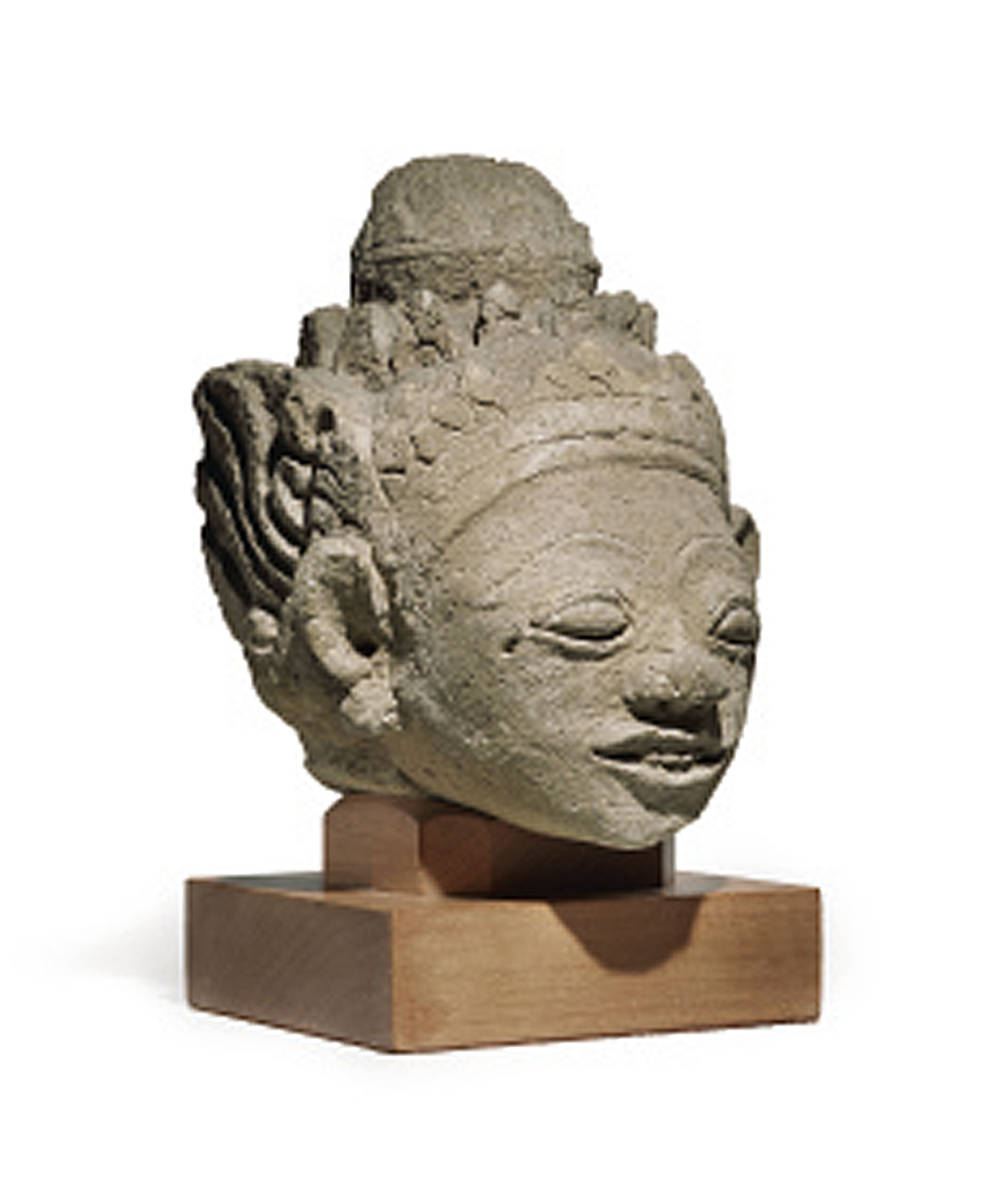 An indonesian carved stone head central java circa