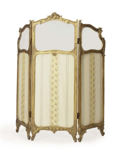 A FRENCH GILTWOOD AND SILK-DAM