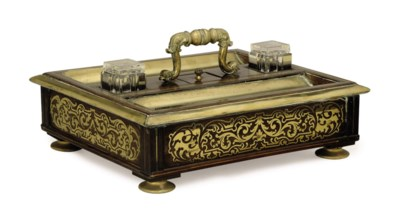 A FRENCH BRASS-INLAID ROSEWOOD