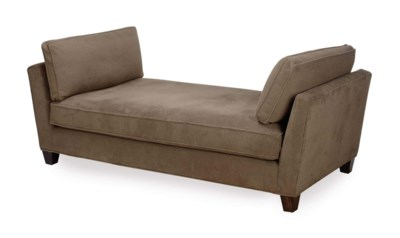 A GREY PLUSH-UPHOLSTERED DAYBE