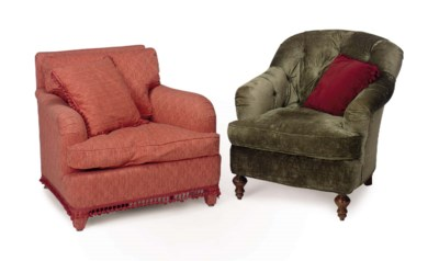 A GREEN VELVET-UPHOLSTERED CLU