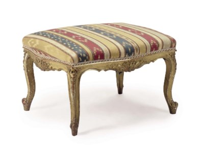 A FRENCH GILTWOOD TABOURET,
