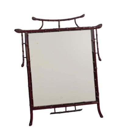 A STAINED BAMBOO MIRROR,