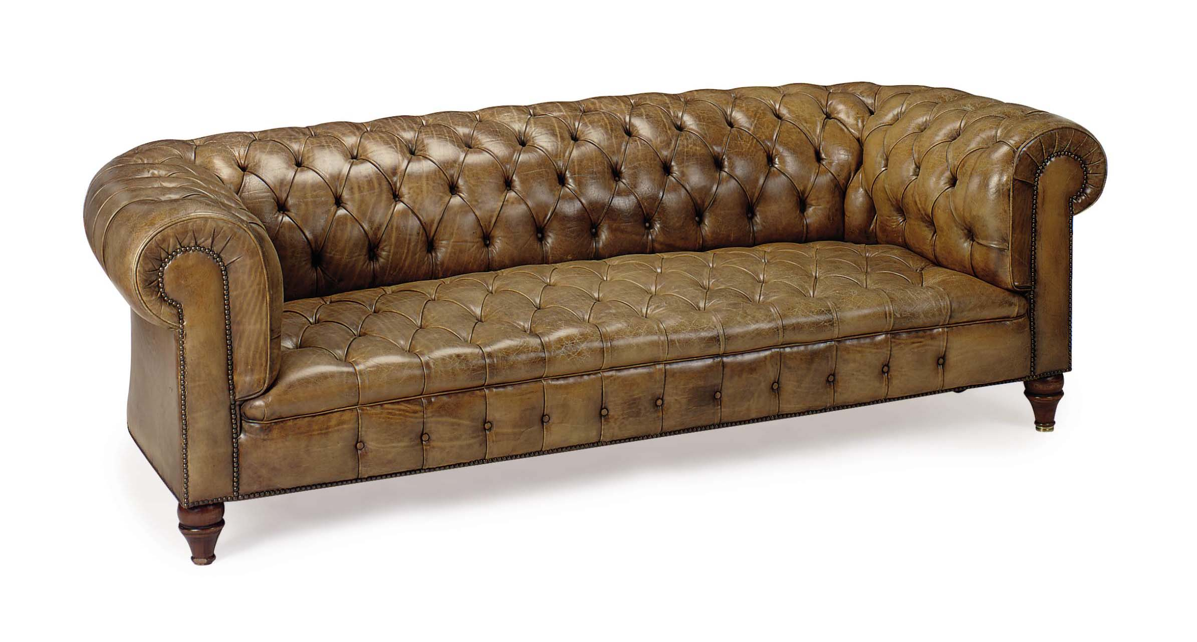 A BUTTON-TUFTED LEATHER-UPHOLSTERED CHESTERFIELD SOFA,