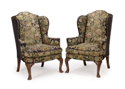 A PAIR OF ENGLISH WALNUT AND N