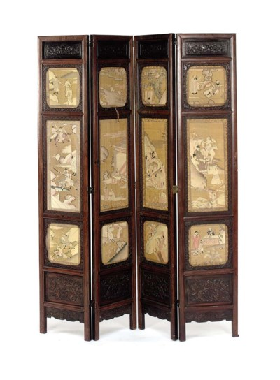 A CHINESE FOUR-PANEL HARDWOOD