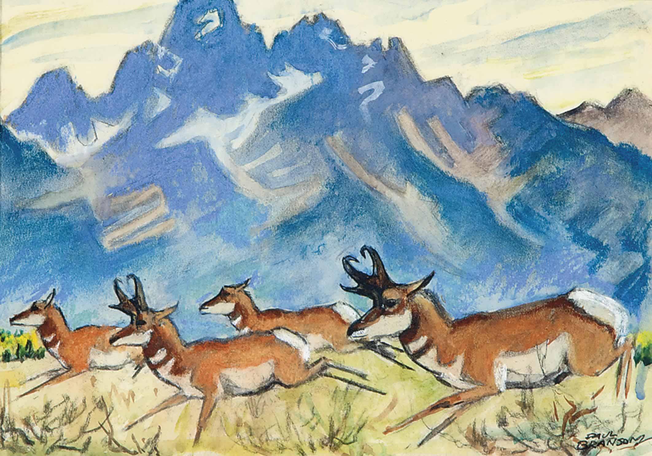 Running Antelope (Segrame Calendar Study)