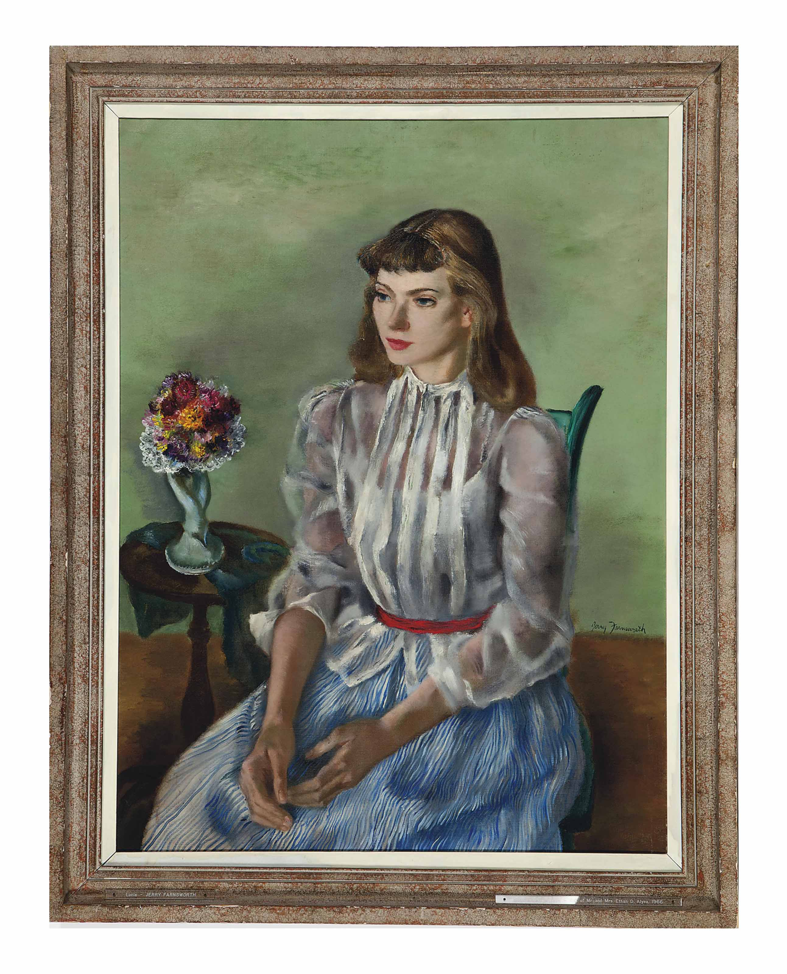 Portrait of Lucia seated in a green room