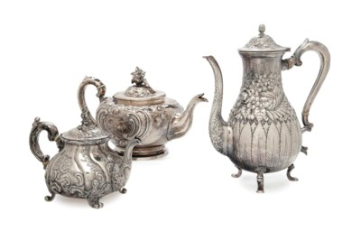 TWO SILVER TEAPOT AND A COFFEE