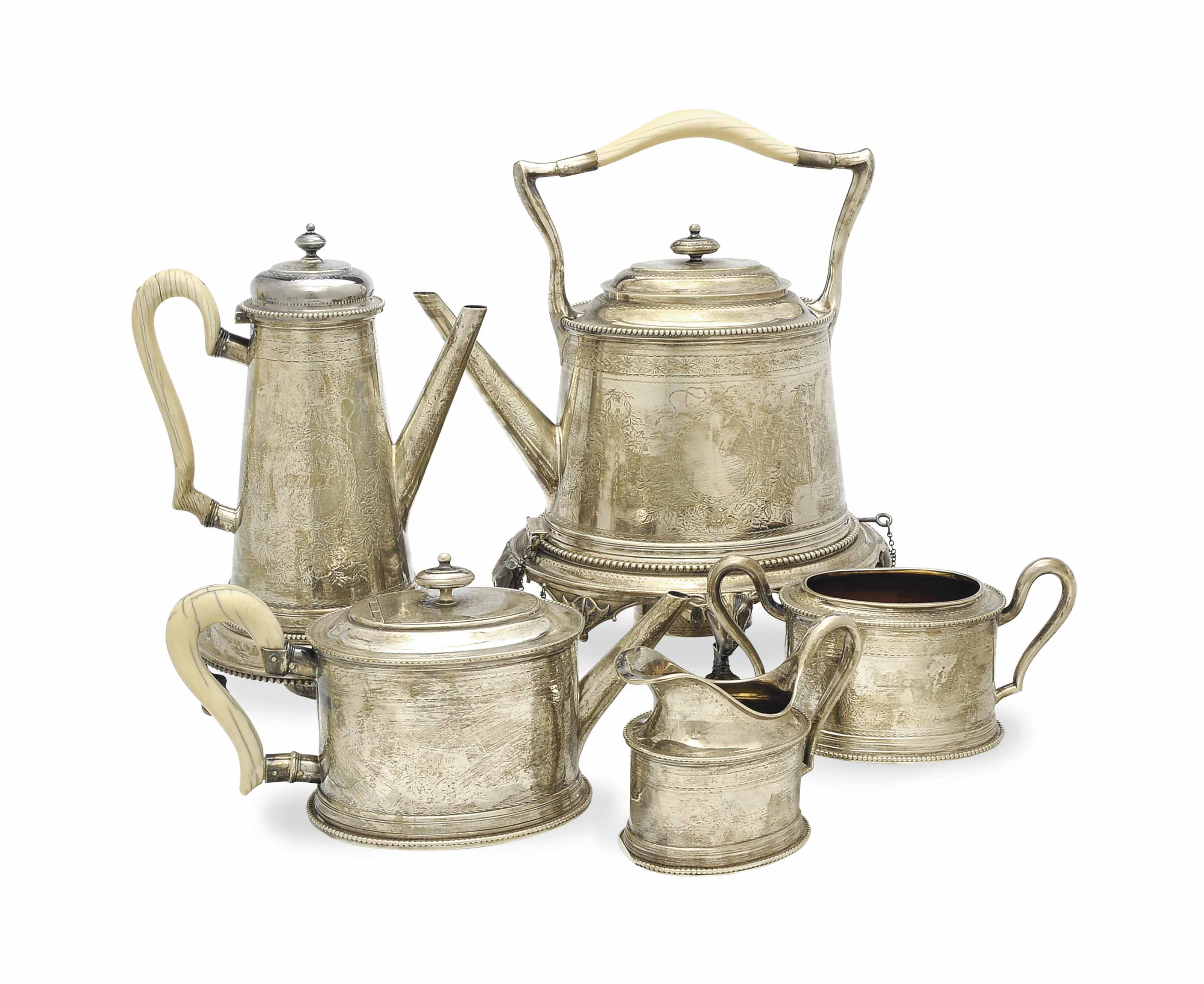 A VICTORIAN SILVER FIVE-PIECE TEA AND COFFEE SERVICE,