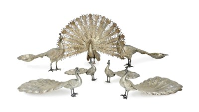 TWO PAIRS OF SILVER PEACOCK-FO