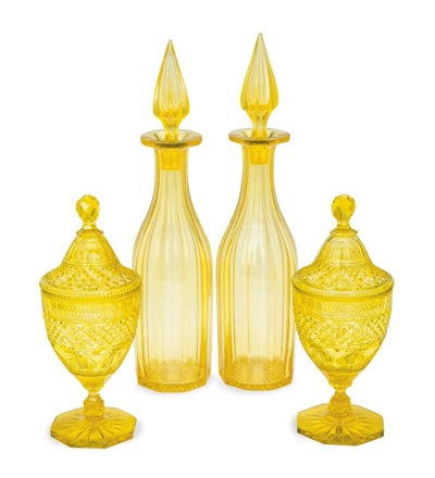 A PAIR OF YELLOW CUT-GLASS DEC