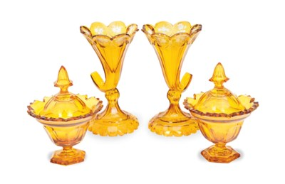 A PAIR OF AMBER ETCHED GLASS C